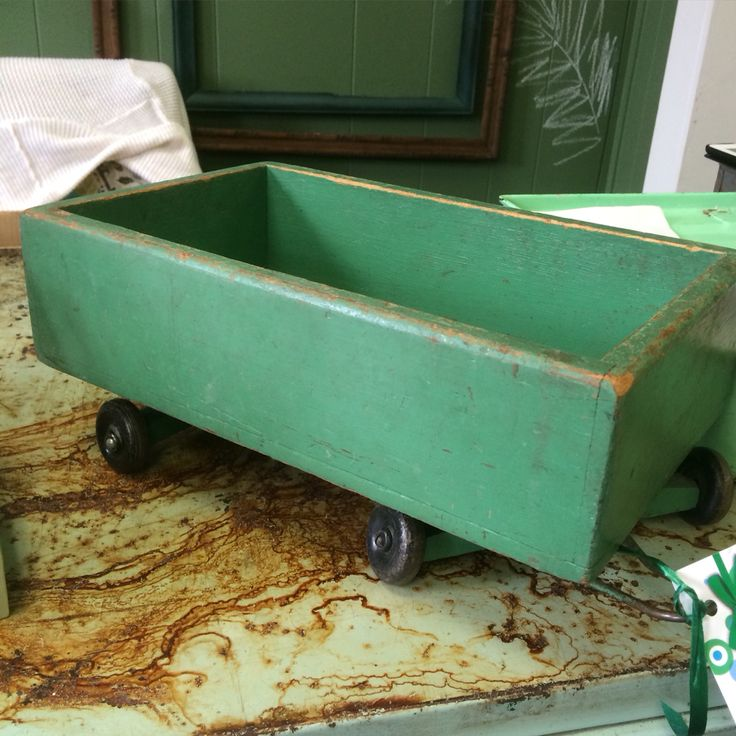 Handmade green wagon - be darling on your table . See you Saturday ...