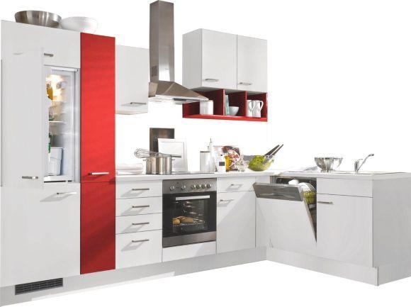 """""""Eine Küche von FAKTA zum Verlieben: Die Front in elegantem Weiß, kraftvolle farbliche Akzente in dynamischem Rot sowie eine klare Linienführung wissen in puncto Optik zu begeistern. Auf den großzügig dimensionierten Arbeitsplatten bereiten Sie komfortabel italienische Nudelgerichte, leckere Rouladen oder köstlich panierte Schnitzel vor. Das pflegeleichte Glaskeramik-Kochfeld erlaubt Ihnen anschließend das präzise Braten Ihrer Lieblingsgerichte. Überflüssigen Dampf entsorgt dabei zuver"""
