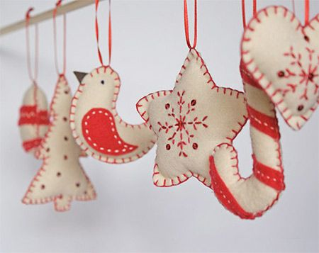 Felt Christmas decorations Let us help you make your own at our weekly Stitch Classes in Brighton & Hove http://www.sewinbrighton.co.uk/stitchclasses.html