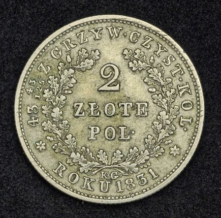 Coins of Poland 2 Zlote Silver Coin Revolutionary Coinage, November Uprising 1830–31.
