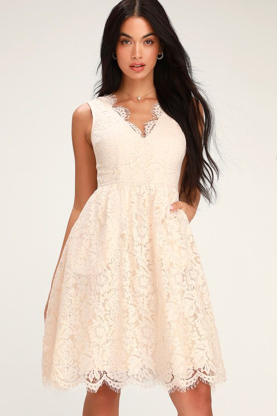 101ed3c06306b Let the Lulus Love Swept Blush Pink Lace Midi Skater Dress sweep you off  your feet! Blush pink floral lace tops a matching knit liner to shape this  ...