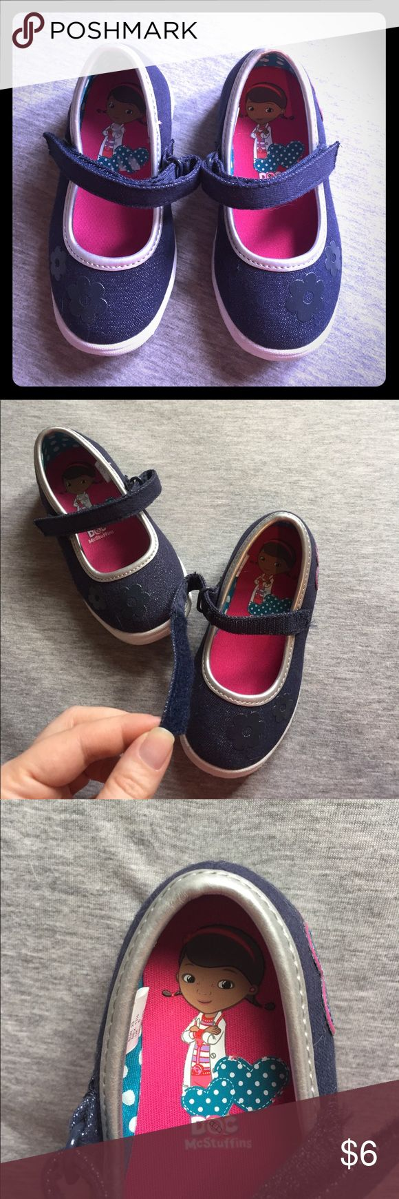 Disney Doc McStuffins mary janes Disney for Payless dark chambray Doc McStuffins mary janes with Velcro straps for easy on and off. Toddler size 6.5, fit is true to size. My daughter has a wide foot and these fit fine. Rubber soles make for great play shoes! Disney Shoes