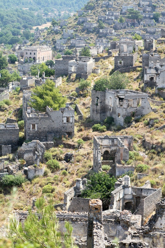 """""""In 1923 the Greeks living in Kayakoy, Turkey departed after a population exchange between the Greek and Turkish governments was mandated, leaving it an abandoned village. Some two million families, Greek Christians and Turkish Moslems alike, were uprooted from the homes and the country they had lived in, many for generations.  Today some 500 original homes remain in Kayakoy, all now in ruins."""""""