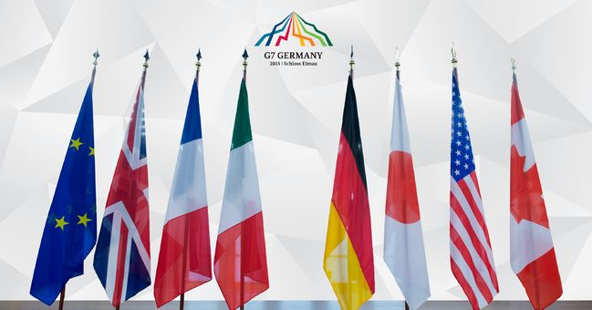 The flags of the G7 nations that will be meeting in Schloss Elmau in 2016. In the EU and Europe there is a sense of cooperation, internationally and internally, to maintain security, justice, and freedom. There is a clear image being drawn that the Great 7 nations stand beside (as an equal) to the EU, whose flag is the furthest to the left. This is important as the EU is neither a nation nor a state, instead it is a collection of nation-states, of which 4/7 are a part of the G7.