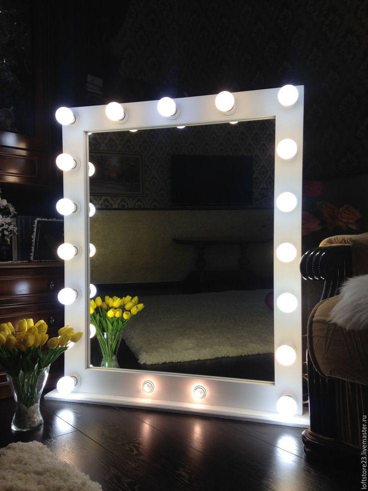 Купить Гримерное зеркало SNOWDROP. - белый, гримерное зеркало, зеркало, зеркало с лампочками, зеркало с лампами