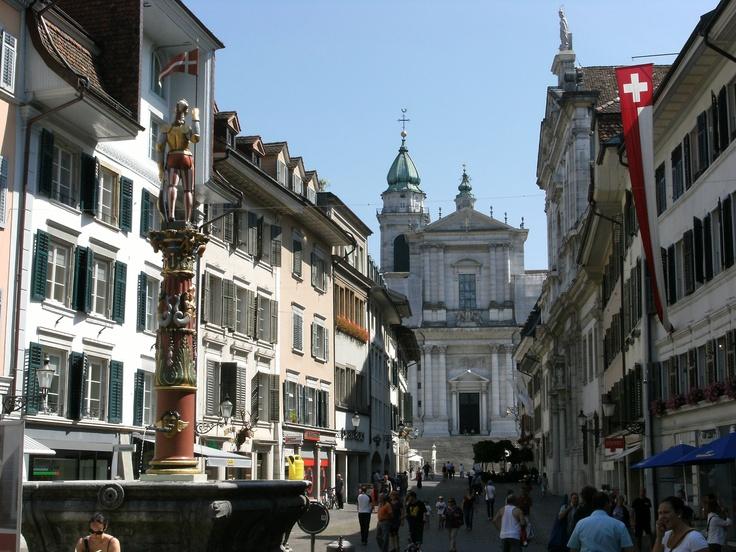 Solothurn, Hauptgasse. St.Ursen cathedral ~ Switzerland