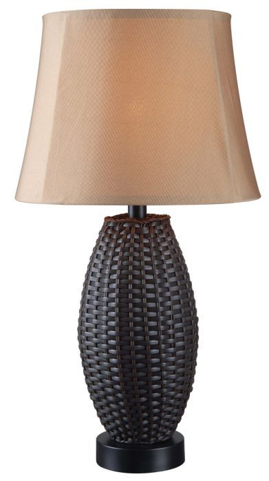 Kenroy Lighting 32203BRZ Sunset Tropical/British Colonial Lamps One Light Outdoor Table Lamp In Bronze Rattan- Glass