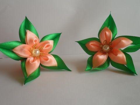 Зелёная звезда резиночка для волос канзаши / Green star hairband kanzashi - YouTube