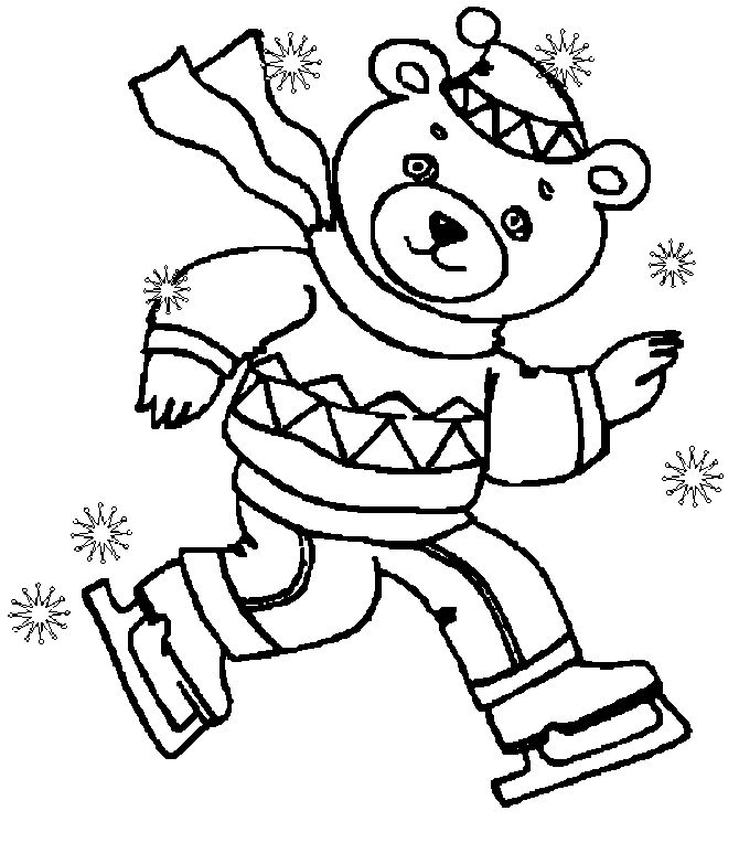 Mr Snowman On Christmas Touching A Snowflake Coloring Page: Teddy Bear Playing Skating Winter Coloring Picture For