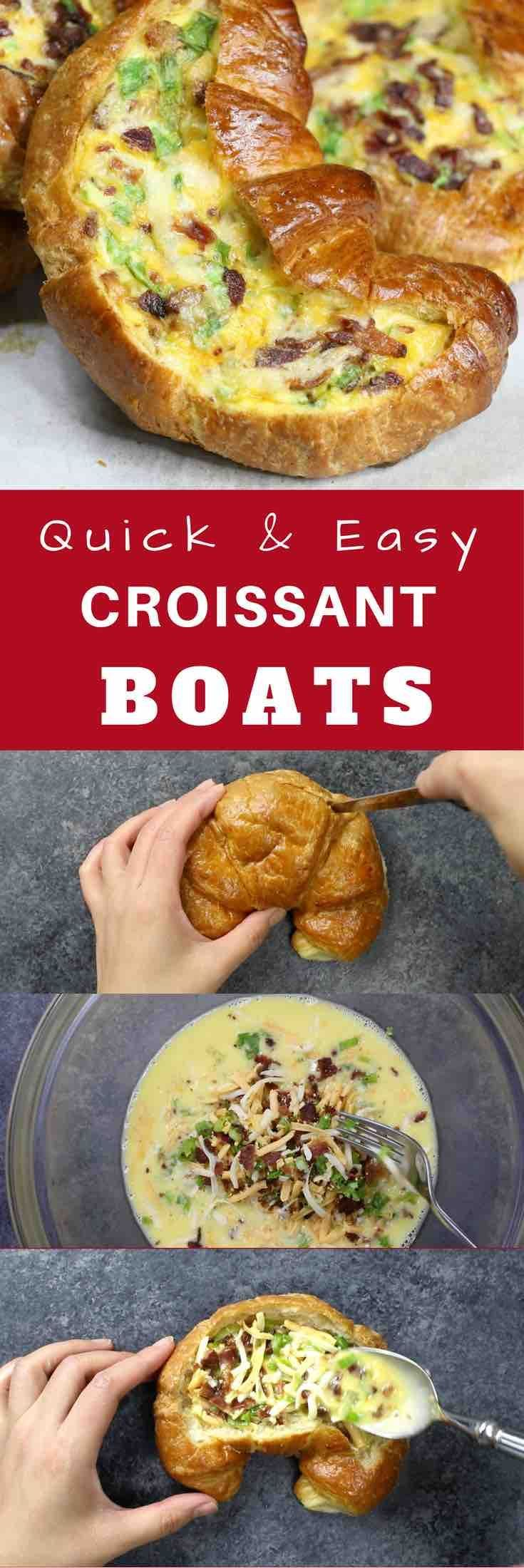 Cheesy Bacon Egg Boats – crispy bacon, fluffy egg and melted cheddar cheese baked in croissant breakfast boats! A quick and easy recipe that's ready in 30 minutes and feeds a crowd! Perfect for breakfast and brunch. So delicious! Video recipe. | Tipbuzz.com