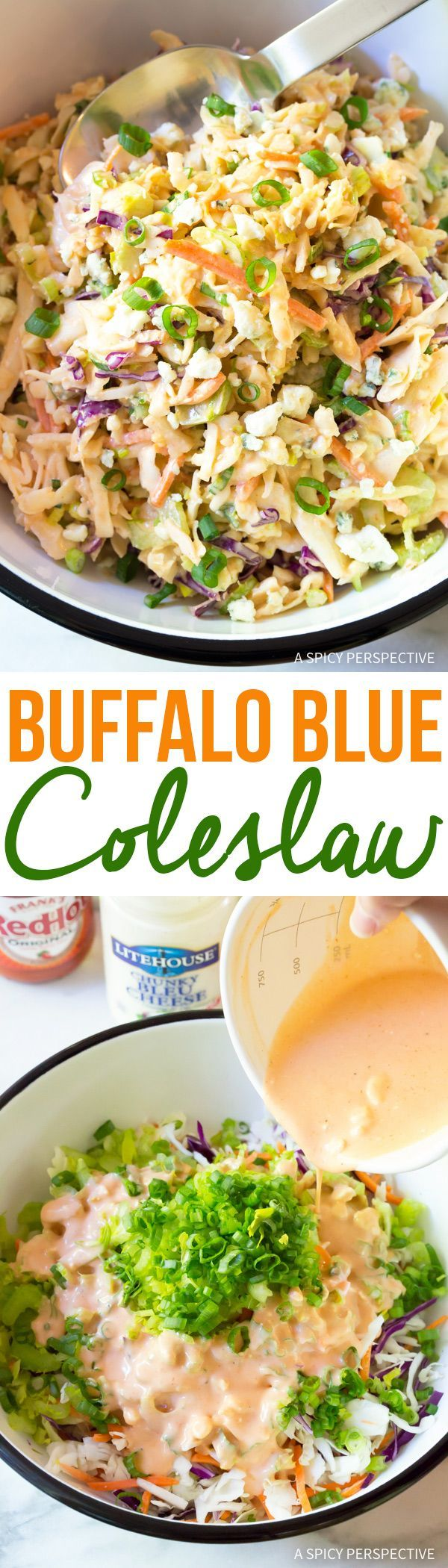 Bold and zesty Buffalo Blue Cheese Coleslaw. A great way to boost your classic coleslaw recipe this season!