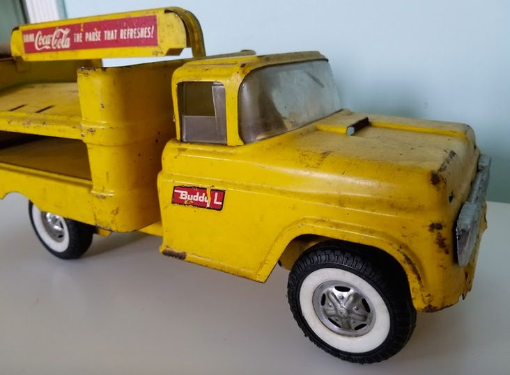 Coca Cola Buddy L Yellow Dump Truck Toy —