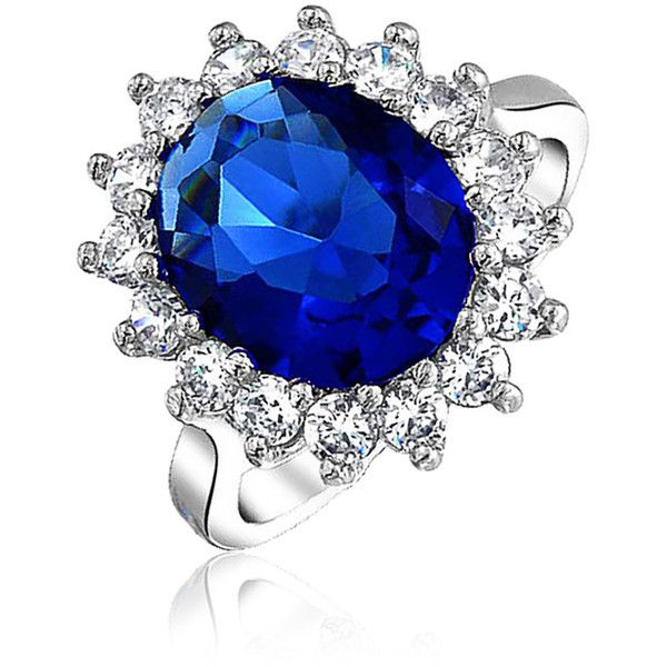 Royal 4ct CZ Sapphire Color Engagement Ring Kate Middleton ($50) ❤ liked on Polyvore featuring jewelry, rings, blue, special occasion jewelry, cocktail rings, sapphire cubic zirconia ring, cz engagement rings, cubic zirconia engagement rings and holiday jewelry