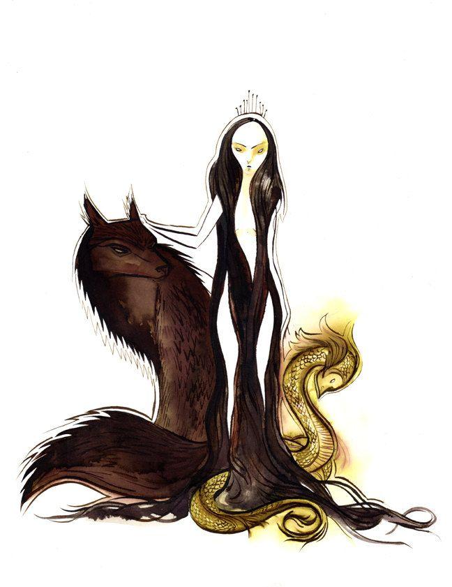 Children of Loki: Fenrir the Wolf, Hel Goddess of the Underworld and Jormungand, The World Serpent.