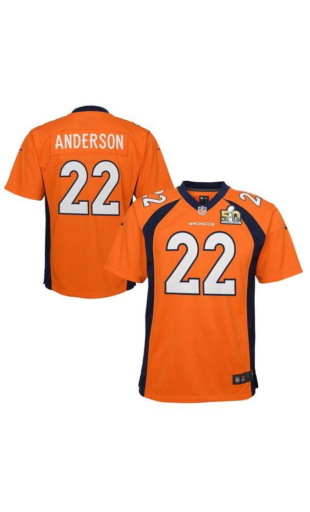 nfl youth denver broncos c.j. anderson orange super bowl 50 bound game jersey white brock osweiler n