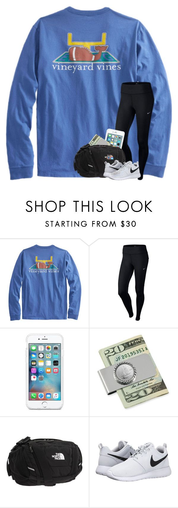 """football game tonight!"" by taylorvel ❤ liked on Polyvore featuring Vineyard Vines, NIKE, American Coin Treasures and The North Face"