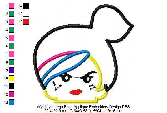 Wyldstyle Lego Face Applique Embroidery Design - INSTANT DOWNLOAD by CartoonsAppliqueCO on Etsy https://www.etsy.com/listing/583398787/wyldstyle-lego-face-applique-embroidery