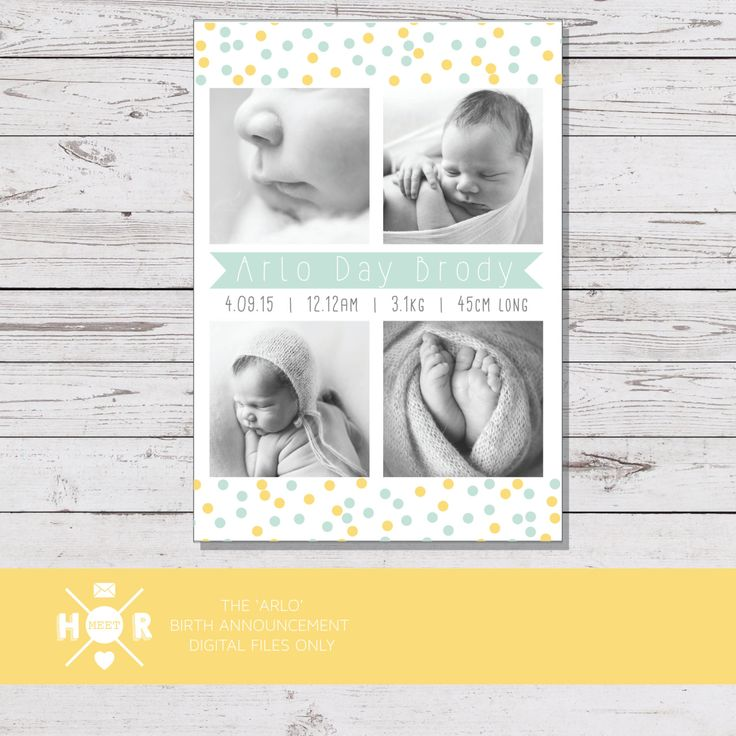 Printable - The 'Arlo' Confetti Birth Announcement | Baby Thank You Card | Multiple Photo by hudsonmeetrose on Etsy