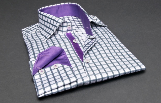 Grey Checkered Shirt Purple Lining (Double Twisted), Waisted-fit - Dress Shirts for Men - French-Shirts.com