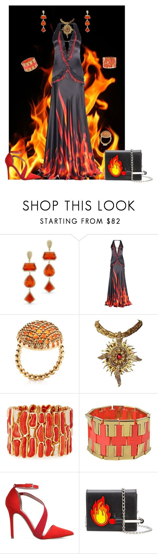 """""""Burning Up"""" by yvonnewarren ❤ liked on Polyvore featuring Anne Sisteron, Roberto Cavalli, Géraldine Valluet, Pamela Huizenga, Tory Burch and Miss KG"""