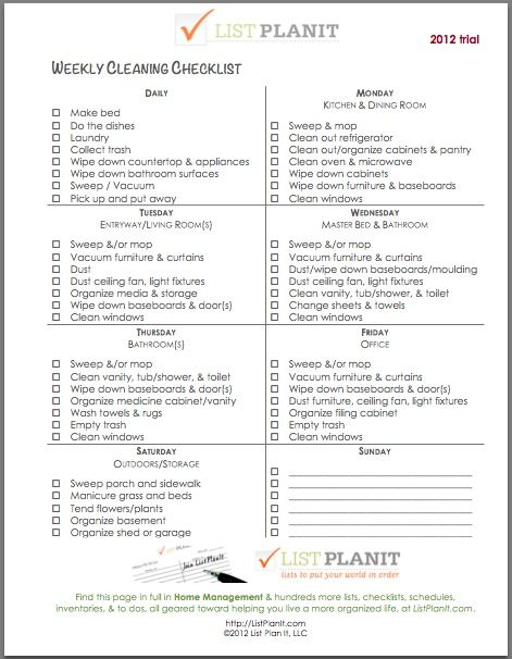 http://cnatrainingclass.co CNA Training Class  Weekly cleaning list neat-and-tidy