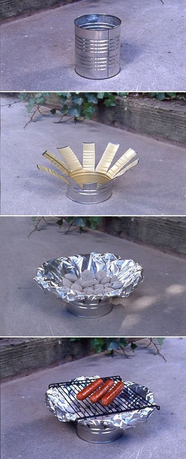 Survival Tip: Make a DIY Grill with a tin can. The bigger the can the bigger the grill base.