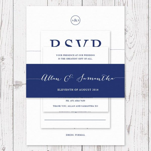Navy And White Script Font Personalised Wedding Belly Band Australia