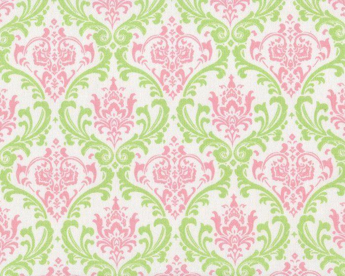 Griffiger Baumwollstoff, Dekostoff MIRA, florale Ornamente, hellgrün-altrosa