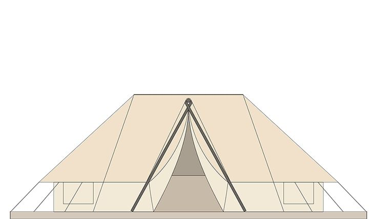 BELL TENT  Overall sleeping places 4 Body length 5,8 m Total width 3,4 m