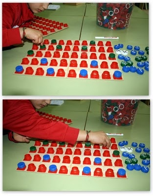 This is a cool idea! Screw on bottle tops (I think?). I might try it as a matching game?