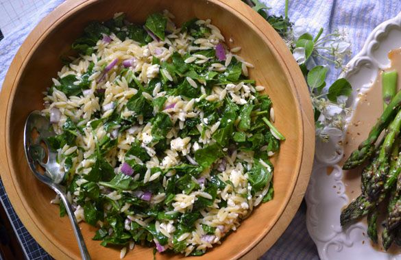 Orzo salad with spinach, feta and lemon. | Eat Me | Pinterest