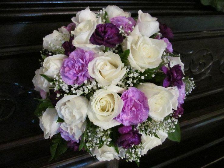 Wedding Bouquet Of White Roses Dark Purple And Light Mini Carnations