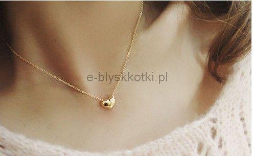 Naszyjnik w kolorze złotym - Serce, Miłość Blyskkotki