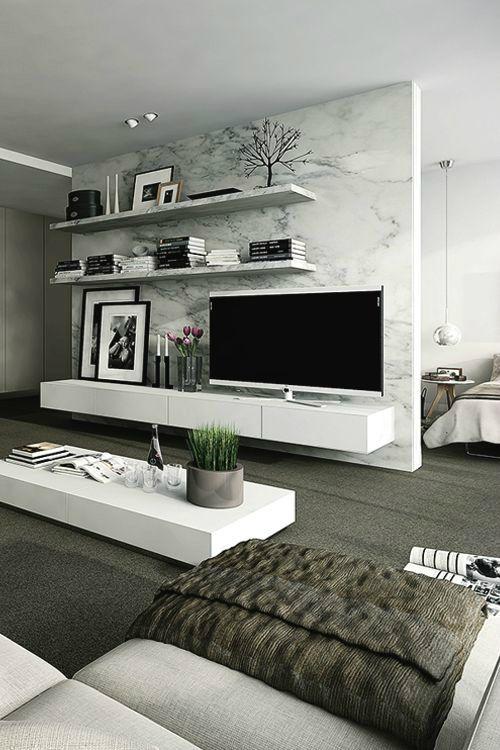 INSPIRATIE * De marmeren muur staat prachtig in dit super strakke interieur. Gek op deze stijl? Kijk voor strakke designmeubels op beliani.nl