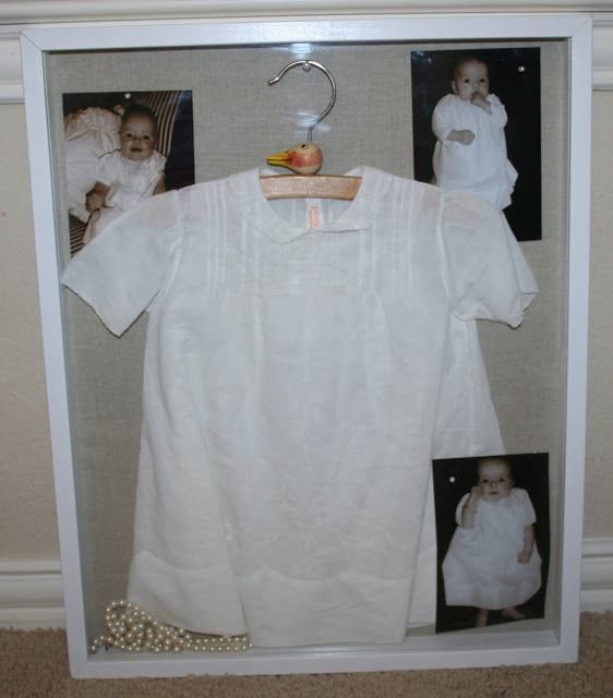 vintage dress in a shadowbox as a way to preserve tradition and memories