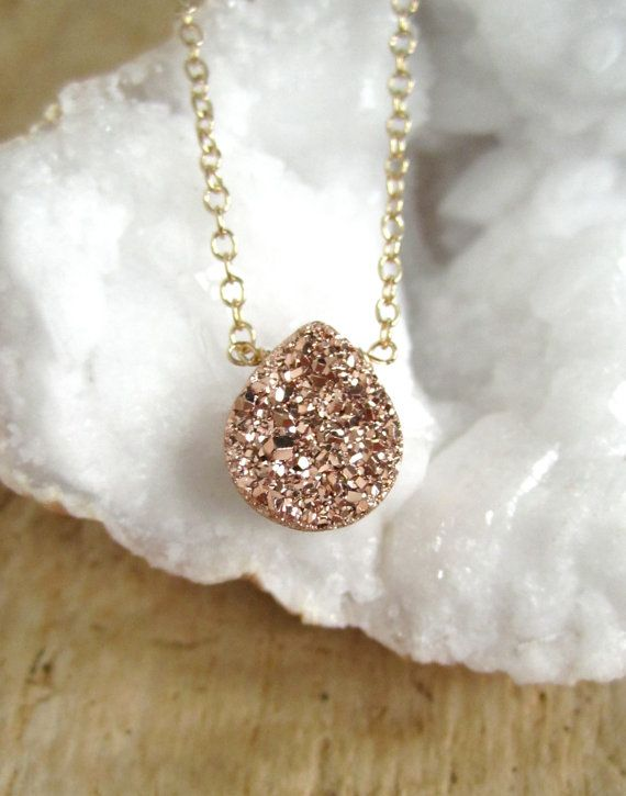 Rose Gold Druzy Necklace Titanium Drusy Quartz by julianneblumlo, $64.00