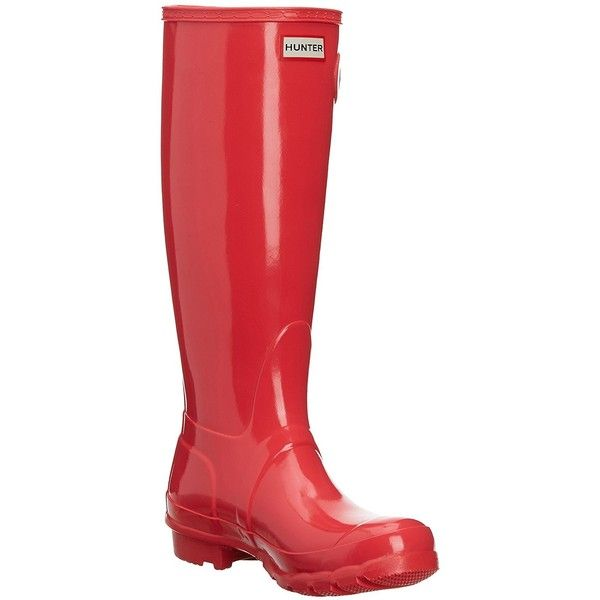 Amazon.com | Hunter Original Tall Gloss Wellington Boots - Navy |... ($85) ❤ liked on Polyvore featuring shoes, boots, knee high rain boots, wellies boots, navy blue rain boots, tall knee high boots and tall boots