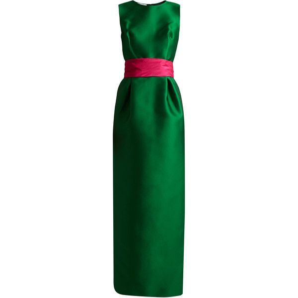 Oscar De La Renta Bi-colour satin column gown ($5,480) ❤ liked on Polyvore featuring dresses, gowns, green multi, satin evening gown, green ball gown, green evening gown, satin sash belt and sash belt