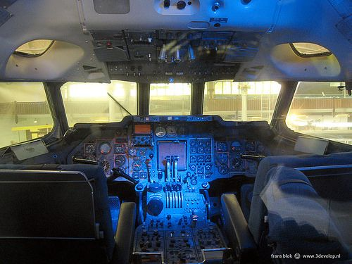 Cockpit interior in the Museum of Science and Industry, Manchester, England