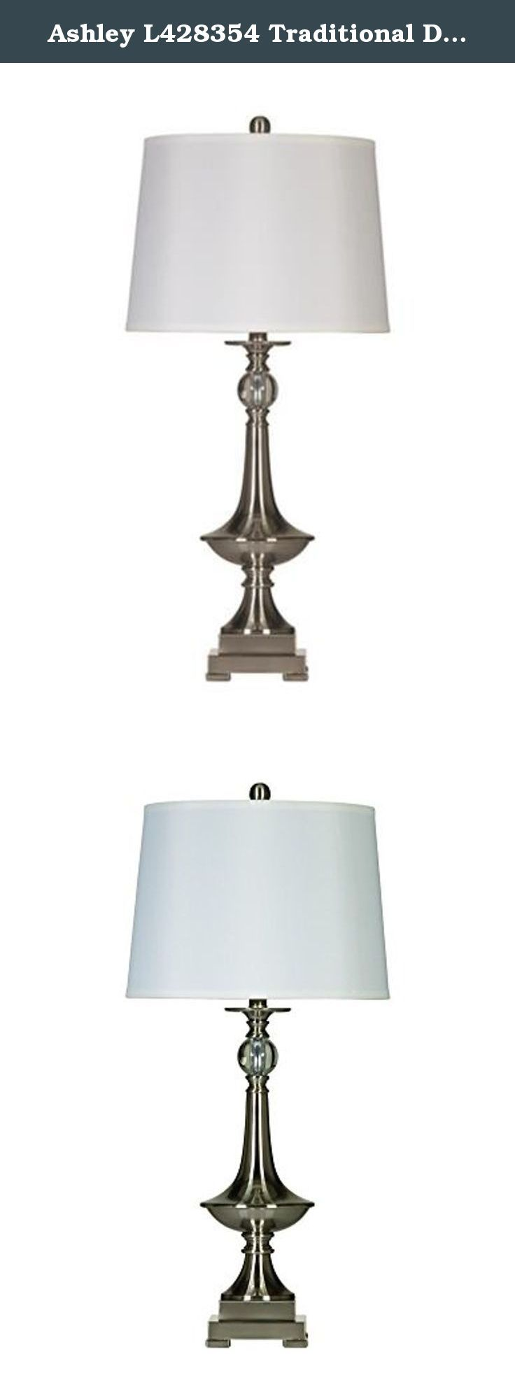 Ashley L428354 Traditional Desk Lamp in Brushed Nickel Finish (Pack of 2). Set of 2 Table Lamps in Brushed nickel finished metal. Dimensions: 15-Inch W x 15-Inch D x 32.75-Inch H, Shade: 13-Inch x 15-Inch x 11-Inch.