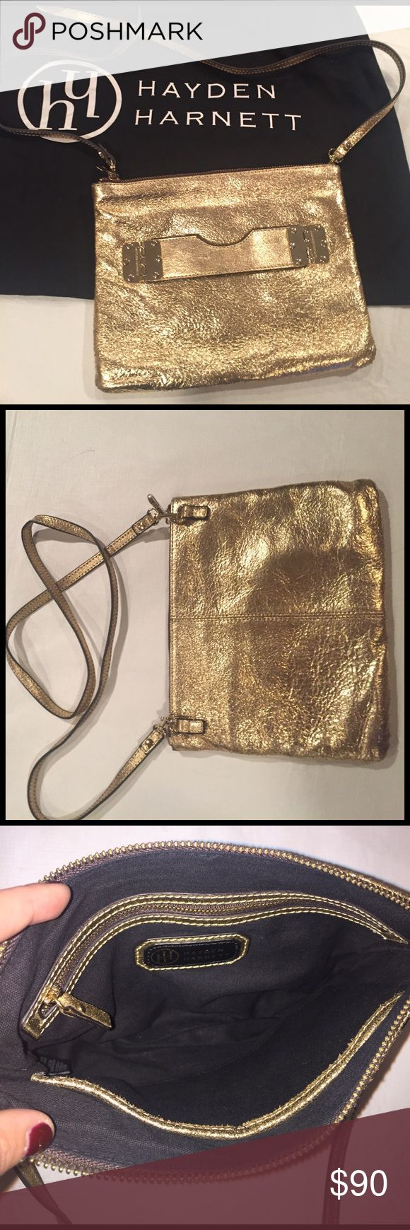 Hayden Harnett Gold Shimmer Crossbody/Clutch Hayden Harnett gold shimmer crossbody bag with zip closure. Removable strap to be worn as clutch with front buckled strap (not removable). Zippered pouch and 2 side pockets inside. Perfect condition, barely worn. Hayden Harnett Bags Crossbody Bags