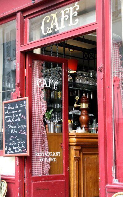 Paris: Red Doors, Stores Front, Paris Storefront, Paris France, Paris Cafe, Paris Tables Sets, Old Window, Cafe K-Cup, French Coff Shops