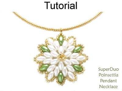 Beaded SuperDuo Poinsettia Necklace Christmas Holiday Beading Pattern Tutorial by Simple Bead Patterns | Simple Bead Patterns