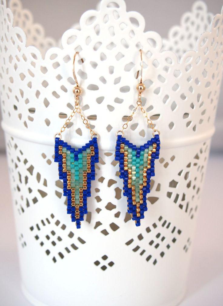 Boucles d'oreilles perles Miyuki et or Golfilled ▲ bleu et vert