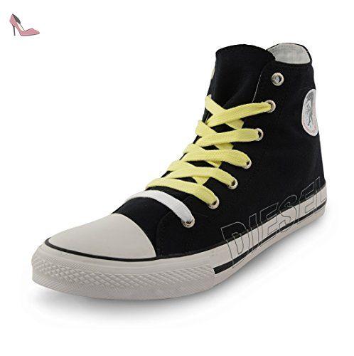 Diesel-High Top formateurs Casual plimsole Chaussures en toile - Noir - noir, 42 - Chaussures diesel (*Partner-Link)