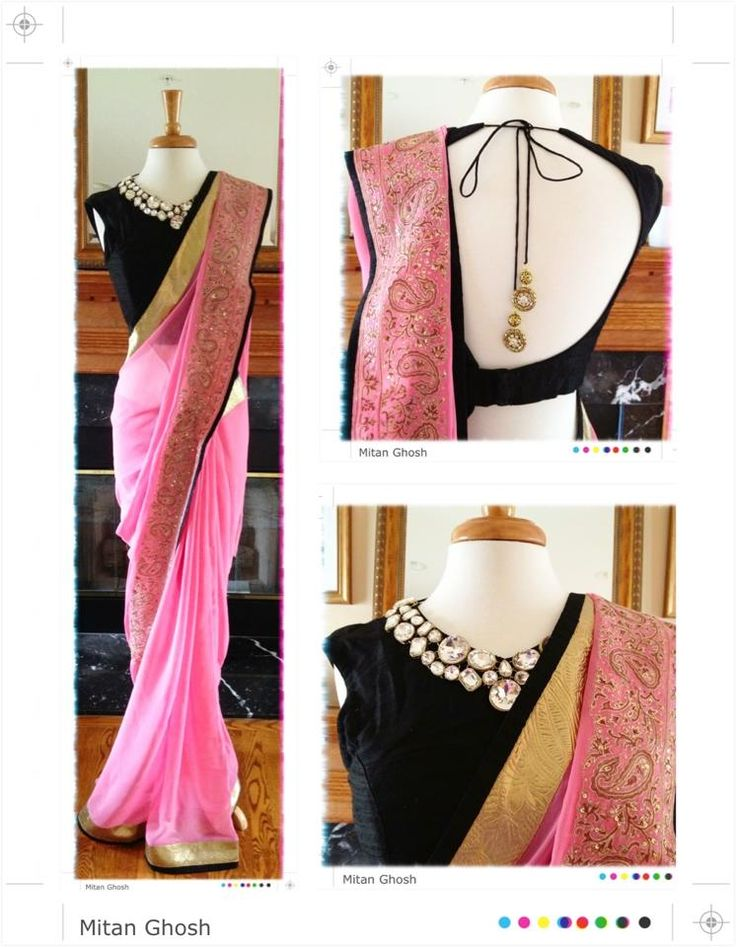 Georgette saree with hand embrodery. Blouse with crystal neckline.