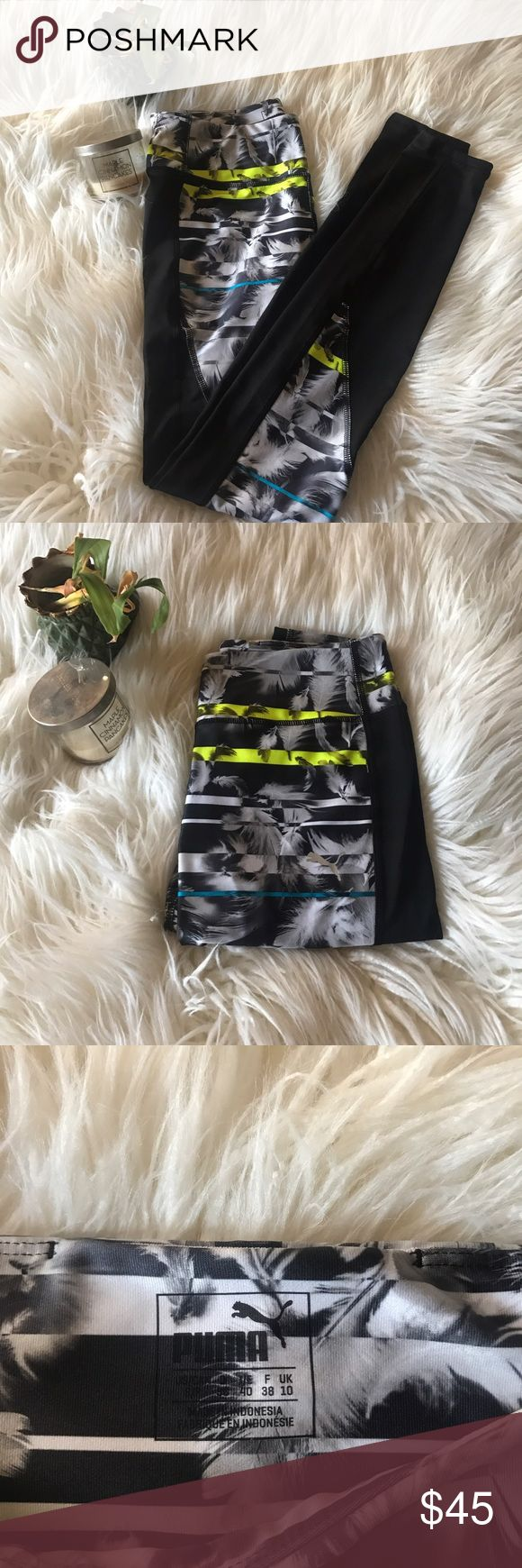 Puma NWT workout leggings NWT puma work out leggings . Palm tree print with lime green and light blue coloring, you'll definitely be catching some eyes in these pants 💪🏼💚 Puma Pants Leggings