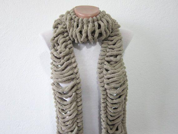 Pompom scarf knitting Long Scarf Brown Winter by scarfnurlu