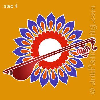 Saraswati Rangoli Step 4