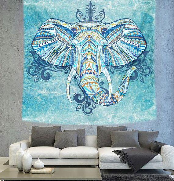 Bohemian Elephant wall tapestry mandala art by Christinedecorshop